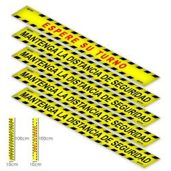 Rotulacion Suelo Distancia Seguridad y Turno. Pegatinas Señalizacion. 5 Unidades Rectangulares, 10 x 100 cm